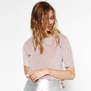 zara womens s mauve pink velour ribbed top cinched